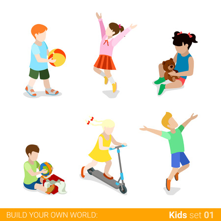 parenting: Happy children at play parenting flat web infographic concept vector icon set. Playing jumping kick board riding teddy bear gift present unpacking. Creative people collection. Illustration