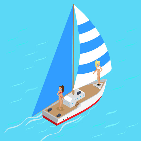 isometry: Yachting  yacht with sexy supermodel girls concept. Flat 3d isometry isometric style web site app icon set concept vector illustration. Creative people collection.