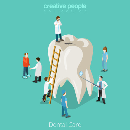 Dental Care micro dentist patient people and huge tooth healthcare concept. Flat 3d isometric isometry vector web site illustration. Creative people collection.