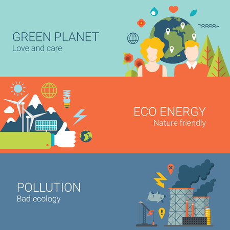 eco energy: Green planet eco energy nature friendly pollution bad ecology web site banner hero image set. Flat style modern vector illustration.