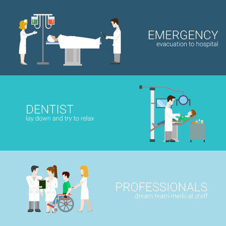 exam: Medicine infographic elements with medical staff and patients treatment and examination flat concept vector illustration on blue background Hospital professionals. Emergency Dentist Professionals.