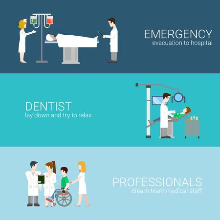 Medizin Infografik Elemente mit medizinischem Personal und Patienten, die Behandlung und Untersuchung flach Konzept Vektor-Illustration auf blauem Hintergrund Krankenhaus-Profis. Notfall-Zahnarzt Professionals.