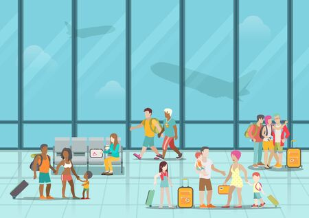 passengers: Airport waiting boarding zone interior and passengers. Flat style website vector illustration. Creative people collection.