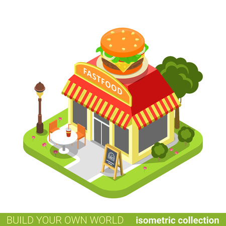 Fast food diner restaurant cafe shop burger shape building realty real estate concept. Flat 3d isometry isometric style web site app icon concept vector illustration. Build your own world collection. Illustration
