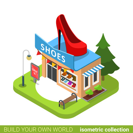 fashion collection: Shoes boots fashion boutique shop shoe shape building realty real estate concept. Flat 3d isometry isometric style web site app icon vector illustration. Build your own world architecture collection.