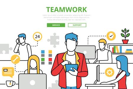 Teamwork concept vlakke lijn kunst vector iconen. Moderne website infographics illustratie held web banner. Lineart collectie. Team dat werkt op kantoor computer client support service. Vector Illustratie
