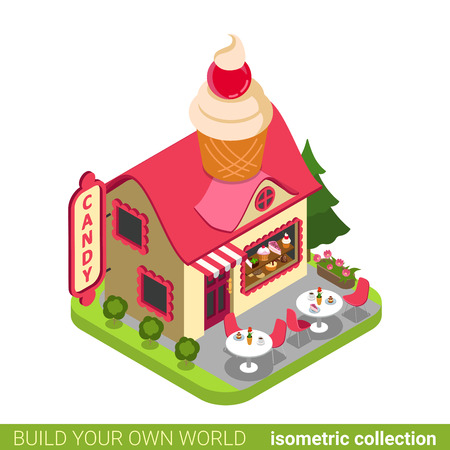 isometry: Confectionery candy shop cupcake shape building cafe restaurant realty real estate concept. Flat 3d isometry isometric style web site icon concept vector illustration. Build your own world collection.