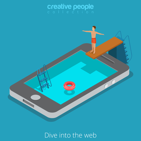 Mobile internet surfing dive into the www web concept. Flat 3d isometric isometry web vector illustration. Man springboard trampoline into smartphone screen water pool. Creative people collection. Illustration