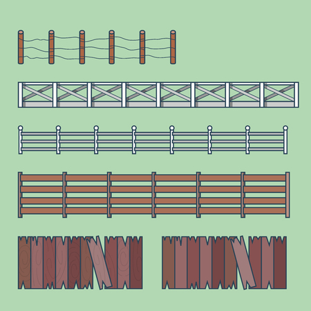 building color: Farm countryside fence fencing element architecture building set. Linear stroke outline flat style vector icons. Color icon collection. Illustration