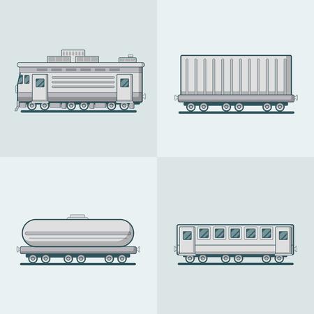cisterna: establece Vag�n de pasajeros Locomotora carro cisterna de transporte de ferrocarril. estilo plana iconos del vector esquema lineal accidente cerebrovascular. colecci�n de iconos monocromo.