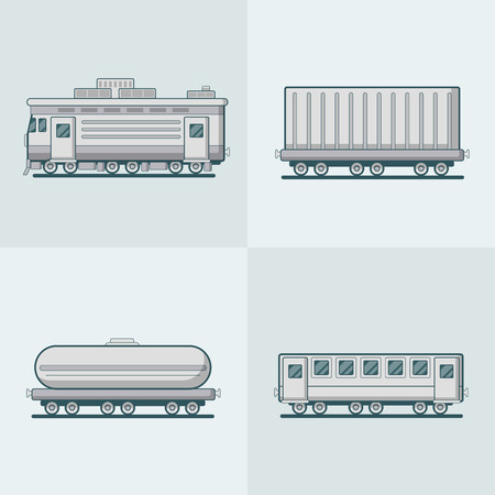 cistern: Locomotive Passenger Coach Carriage Cistern railway railroad transport set. Linear stroke outline flat style vector icons. Monochrome icon collection.