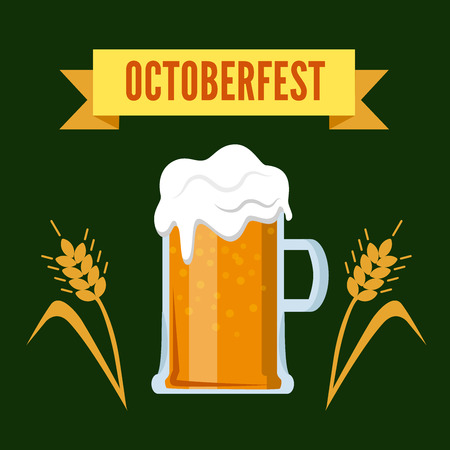 brew: Octoberfest Oktoberfest beer festival ribbon flat style   icon. Foamy brew glass and two ear spica. Brewery collection.