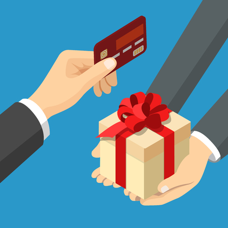 instead: Card payment for gift concept. Flat 3d isometry isometric web vector illustration. Hand giving bank card and present box instead