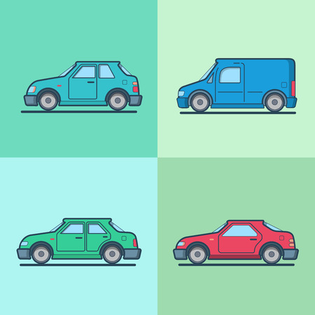 motor car: Motor passenger car van sportscar sedan hatchback road transport set. Linear multicolor stroke outline flat style vector icons. Color icon collection. Illustration