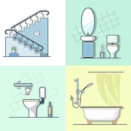 ... Badezimmer Toilette Leiter Interieur Innenelement Möbel Gesetzt. Linear  Schlaganfall Umriss Flach Stil Vektor Icons. Farbe Linie Kunst Icon Sammlung .