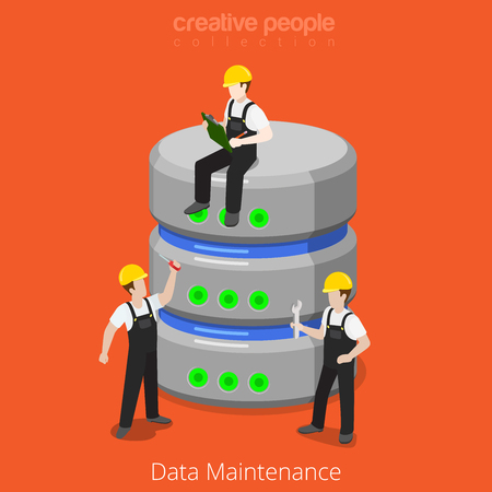 HDD Database Storage Maintenance SQL backup process icon. Flat 3d isometric isometry style technology computer hardware concept vector illustration. Micro cartoon men DB. Creative people collection.