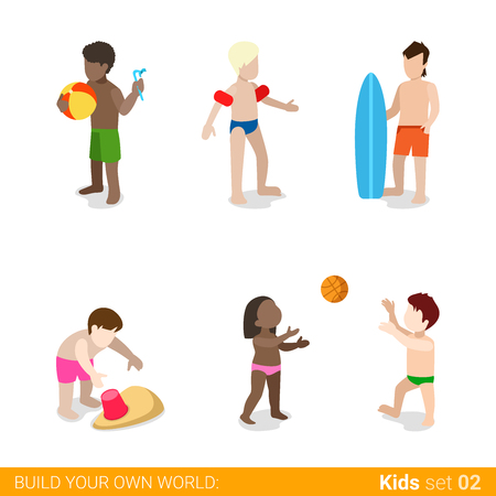 parenting: Active beach vacation children at play parenting flat web infographic concept vector icon set. Playing ball surfing swimsuit diving. Creative people collection.