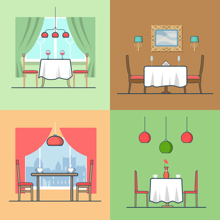 condo: Restaurant cafe condo accommodation dining room cosy modern interior indoor set. Linear stroke outline flat style vector icons. Color table stool chair wine coffee diner icon collection.