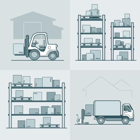 storage box: Warehouse rack shelving loader box loading van set. Storage business concept. Linear stroke outline flat style vector icons. Monochrome icon collection.