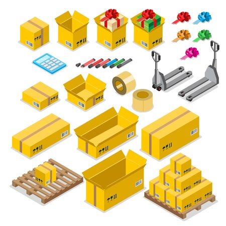 packing tape: Box goods crate storage delivery warehouse concept icon set. Flat 3d isometry isometric style web site app vector illustration. Package packaging pack packing fork wheel roll tape pallet. Illustration