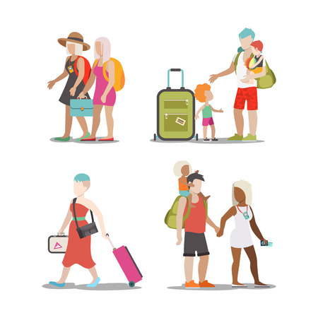 family vacation: Family vacation set. Man woman children going have fun interesting holidays illustration. Travelling tourism life style collection.