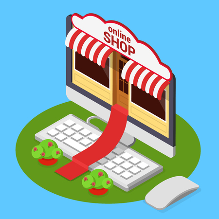 marquise: Online shop opening concept. Flat 3d isometric isometry e-commerce internet technology business web vector illustration. Red carpet from computer monitor over keyboard from store entrance to street. Illustration