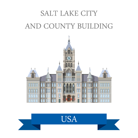 salt lake city: Salt Lake City and County Building Utah United States. Flat cartoon style historic sight showplace attraction web site vector illustration. World countries cities vacation travel sightseeing North America USA collection.