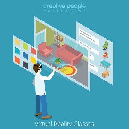 Virtual Reality VR Glass application concept web vector flat isometric style illustration. New technology collection. Male wearing glasses working interior app. Ilustração Vetorial