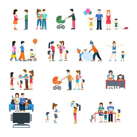 стиль жизни: Семейный стиль жизни концепция вектор плоский набор иконок. Молодые родители мать отец весело обучения детей.
