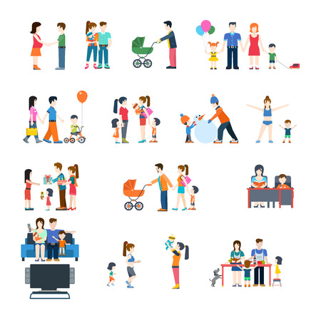 young children: Family life style concept vector flat icon set. Young parents mother father fun teaching children.