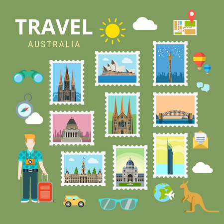 points of interest: Travel Australia New Zealand. Picture gallery vector template flat style. Tourism sightseeing POI landmark world famous places. Vacation city country collection.