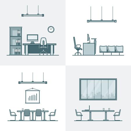 Oficina de la conferencia sala de reunión del gabinete tabla silla conjunto indoor interior. estilo plana iconos del vector esquema lineal accidente cerebrovascular. colección de iconos monocromo. Ilustración de vector