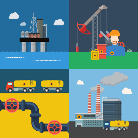 mine site: Oil extraction transport pipeline refinery power energy business cycle process concept vector illustration. Flat style web banner hero image set ocean sea production platform extract mining derrick