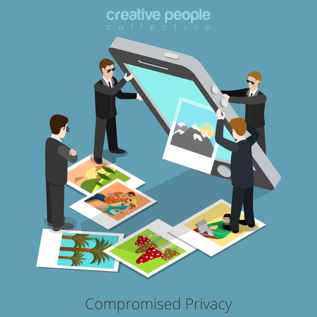 out of control: Compromised privacy concept. Special agents shake out content from big smartphone. Flat 3d isometry isometric style web site app icon set concept vector illustration. Creative people collection.