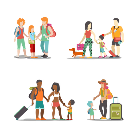 dog walk: Family vacation set. Man woman children going have fun interesting holidays illustration. Travelling tourism life style collection.