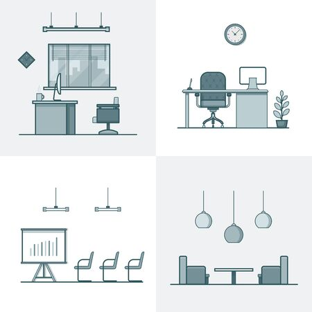 night club interior: Office meeting conference room table chair armchair night dance club interior indoor set. Linear stroke outline flat style vector icons. Monochrome icon collection.