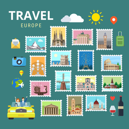 sightseeings: Travel Europe England Italy France Austria Switzerland Ukraine. Picture gallery vector template flat style. Tourism sightseeing POI landmark world famous places. Vacation city country collection.