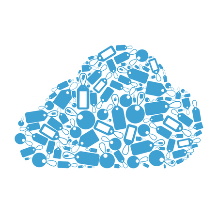 cloud tag: Tag cloud concept. Flat style cloud shape formed by little tags. Illustration