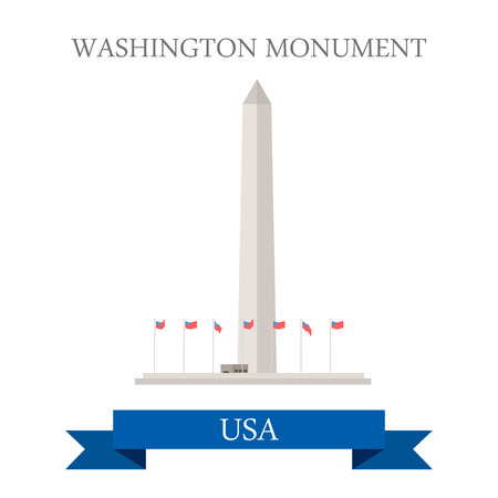 points of interest: Washington Monument United States. Flat cartoon style historic sight showplace attraction web site vector illustration. World countries cities vacation travel sightseeing North America USA collection. Illustration