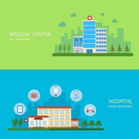 medical treatment: Medical center full treatment hospital local healthcare web site banner hero image set. Building exterior and health care service icons. Flat style modern vector illustration.
