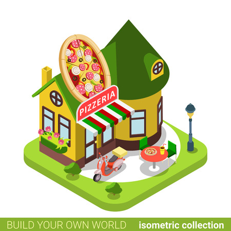 isometry: Pizzeria cafe restaurant shop pizza shape building realty real estate concept. Flat 3d isometry isometric style web site app icon vector illustration. Build your own world architecture collection.