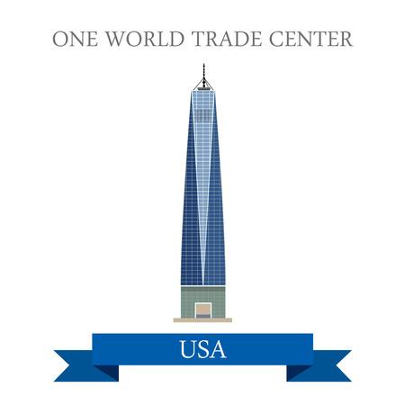 1 つの世界貿易センター ニューヨーク アメリカ合衆国。フラット漫画スタイル歴史的名所観光名所アトラクション web サイト ベクトル イラスト。世