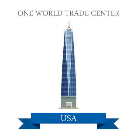 world trade: One World Trade Center New York United States. Flat cartoon style historic sight showplace attraction web site vector illustration. World city vacation travel sightseeing North America USA collection