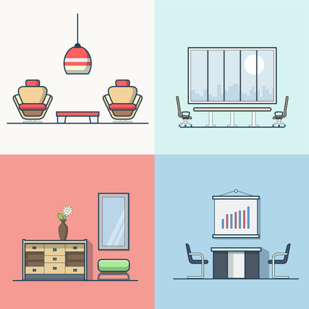 night club interior: Office meeting conference room table chair armchair night dance club living room interior indoor set. Linear stroke outline flat style vector icons. Color icon collection.