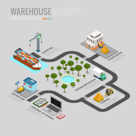 isometry: Warehouse infographics storage delivery shipping transportation business info graphic. Flat 3d isometry isometric style web site app icon set concept vector illustration. Creative trendy collection.