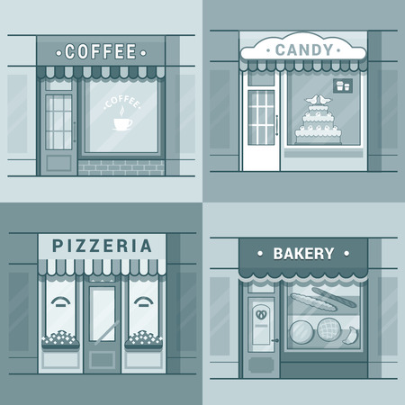 brink: Small local business showcase storefront shop window cafe coffee bakery pizza pizzeria candy confectionery set. Linear stroke outline flat style vector icons. Monochrome icon collection.