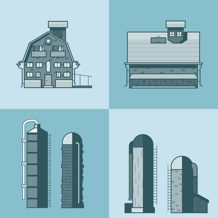 tower house: Farm barn store house warehouse granary hangar water tower architecture building set. Linear stroke outline flat style vector icons. Mono color icon collection.