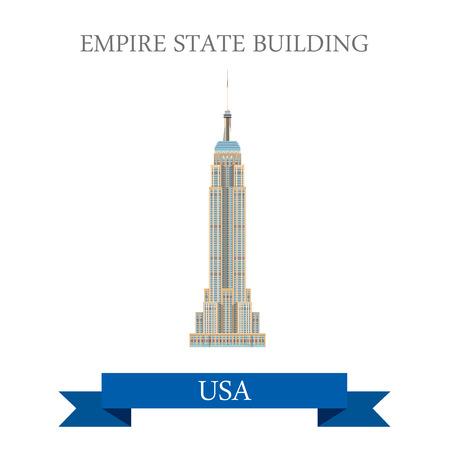 Empire State Building à New York, États-Unis. Appartement style de bande dessinée historique vue showplace attraction Site web vecteur d'illustration. Monde vacances Voyage visites Amérique du Nord USA collection. Vecteurs