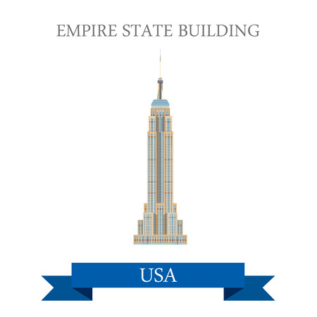 Empire State Building à New York, États-Unis. Appartement style de bande dessinée historique vue showplace attraction Site web vecteur d'illustration. Monde vacances Voyage visites Amérique du Nord USA collection.