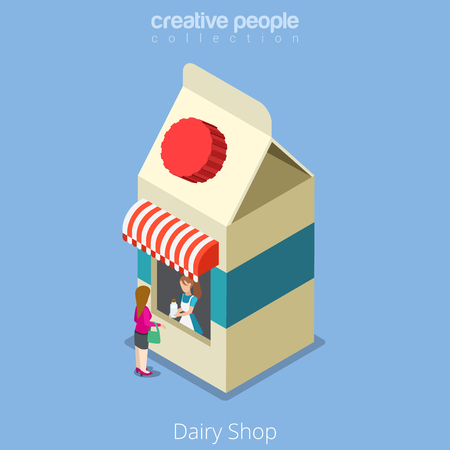 real people: Dairy shop building realty real estate concept. Flat 3d isometry isometric style web site app icon set concept vector illustration. Creative people collection. Illustration